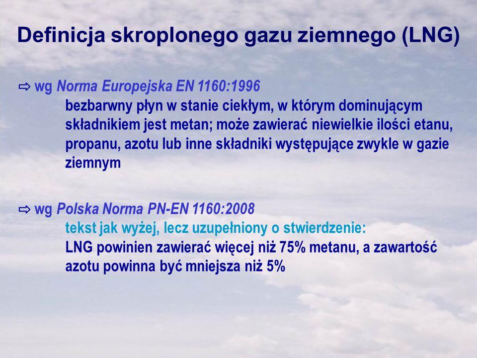 Definicja skroplonego gazu ziemnego (LNG) wg Norma Europejska EN 1160:1996 bezbarwny płyn w stanie ciekłym, w którym dominującym składnikiem jest meta