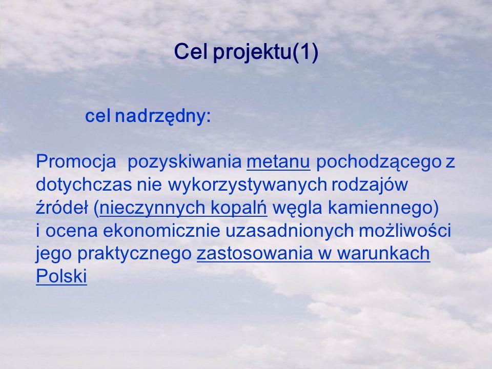 Cel projektu(1) cel nadrzędny: Promocja pozyskiwania metanu pochodzącego z dotychczas nie wykorzystywanych rodzajów źródeł (nieczynnych kopalń węgla k