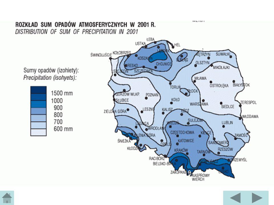 Opady w Polsce Średnia wielkość opadów wynosi ok.600 mm (jednak rozkładają się one nierównomiernie) 2/3 rocznych opadów to opady półrocza letniego 1/3