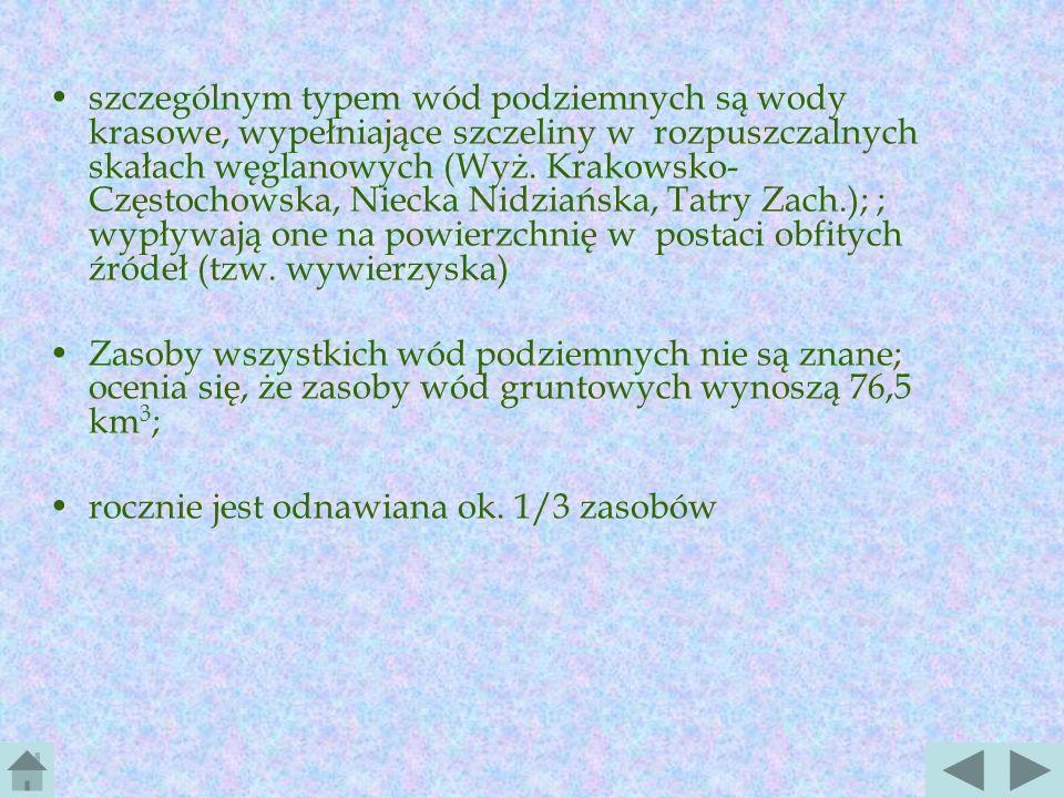 Wody podziemne wody podziemne w Polsce występują gł. w postaci warstw wodonośnych o swobodnym zwierciadle (wody freatyczne) znajdujących się na różnyc