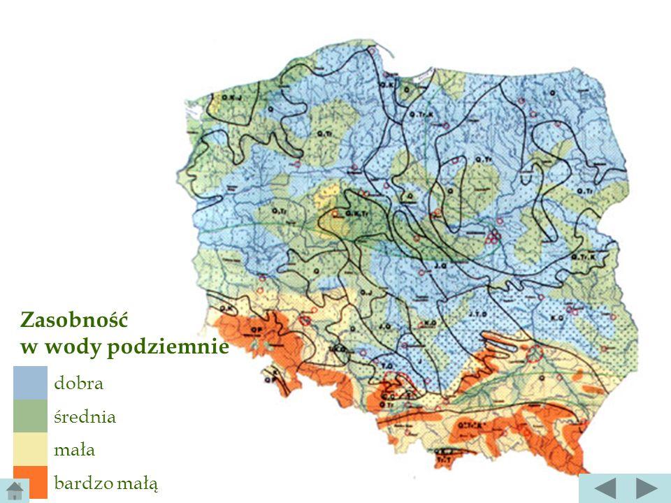 szczególnym typem wód podziemnych są wody krasowe, wypełniające szczeliny w rozpuszczalnych skałach węglanowych (Wyż. Krakowsko- Częstochowska, Niecka