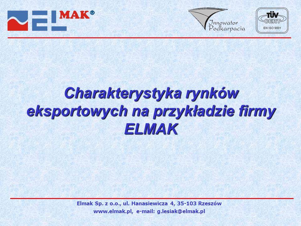 Charakterystyka rynków eksportowych na przykładzie firmy ELMAK Elmak Sp.