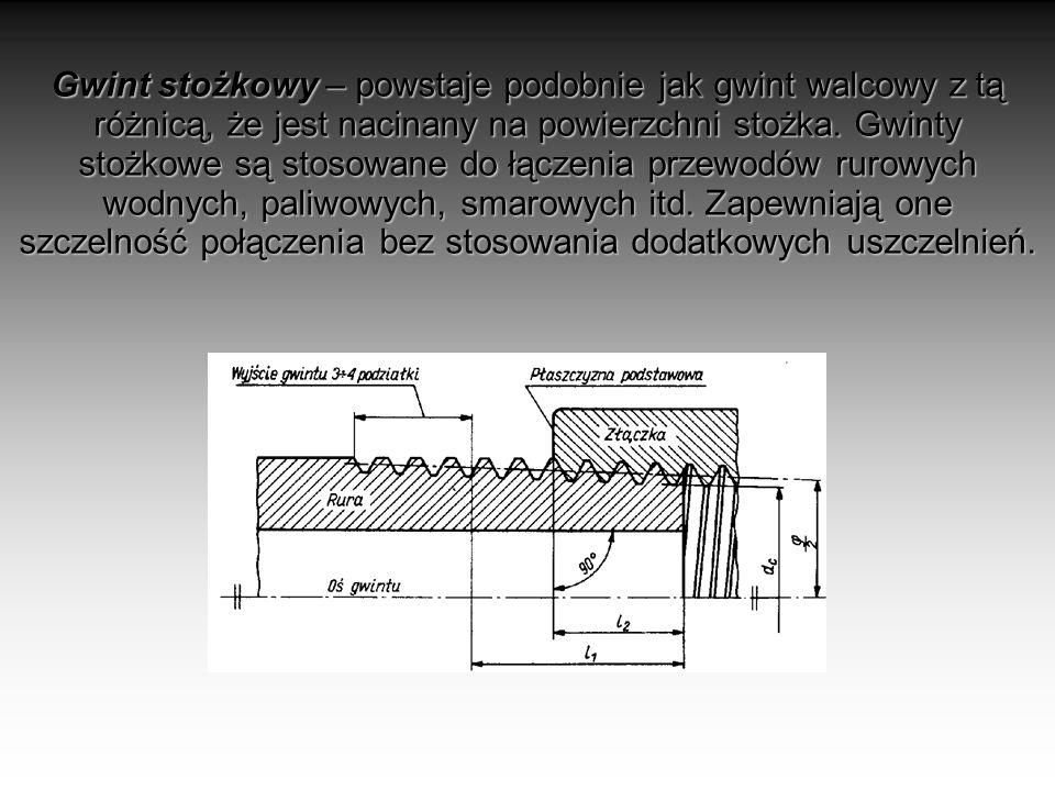 Gwint stożkowy – powstaje podobnie jak gwint walcowy z tą różnicą, że jest nacinany na powierzchni stożka. Gwinty stożkowe są stosowane do łączenia pr