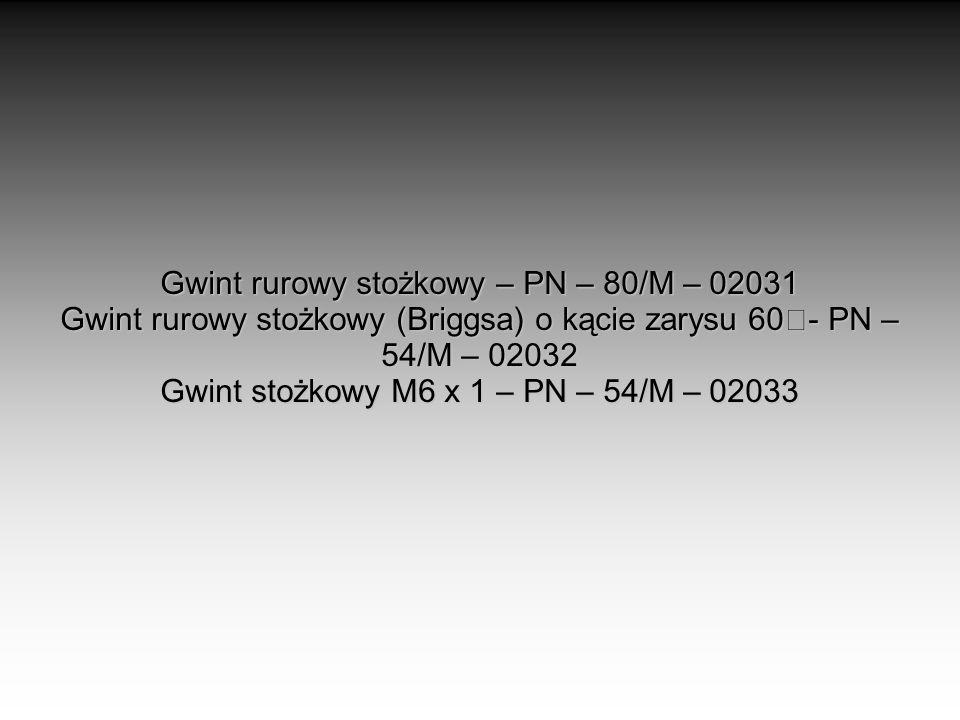 Gwint rurowy stożkowy – PN – 80/M – 02031 Gwint rurowy stożkowy (Briggsa) o kącie zarysu 60 - PN – 54/M – 02032 Gwint stożkowy M6 x 1 – PN – 54/M – 02