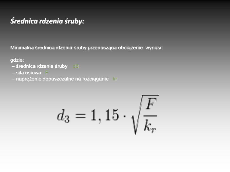 Średnica rdzenia śruby: Minimalna średnica rdzenia śruby przenosząca obciążenie wynosi: gdzie: – średnica rdzenia śruby d3 – siła osiowa F – naprężeni
