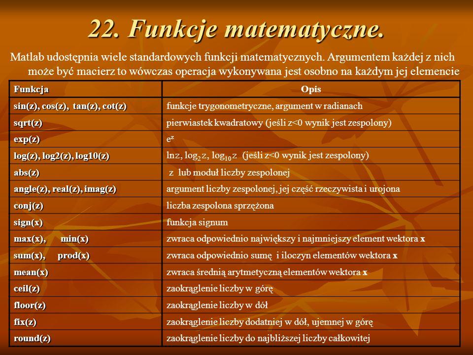 22. Funkcje matematyczne. Matlab udostępnia wiele standardowych funkcji matematycznych. Argumentem każdej z nich może być macierz to wówczas operacja