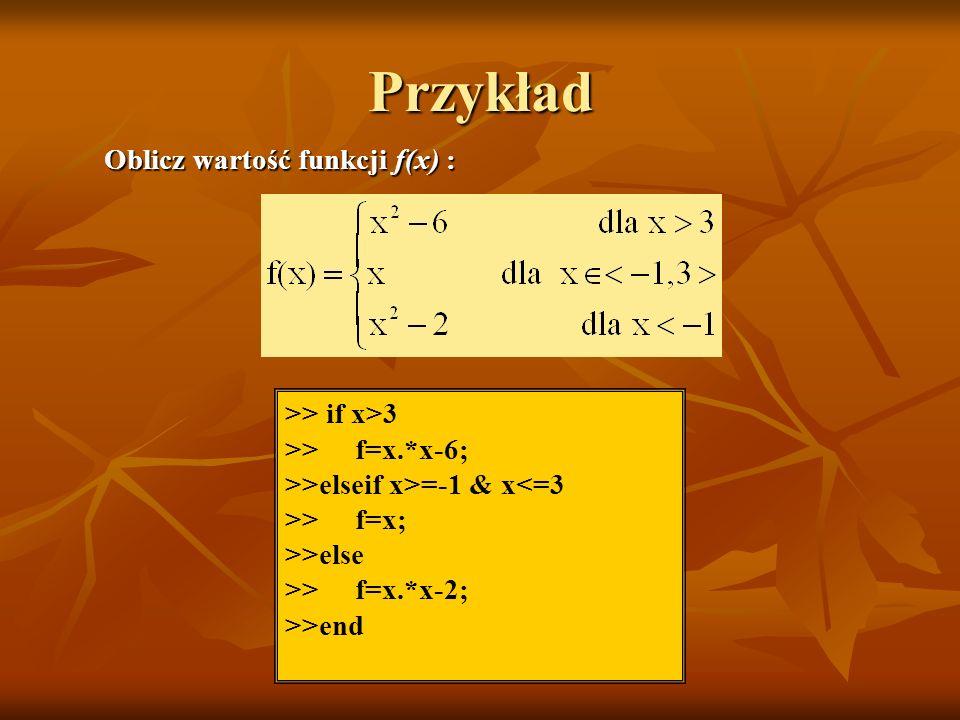 Przykład >> if x>3 >> f=x.*x-6; >>elseif x>=-1 & x<=3 >> f=x; >>else >> f=x.*x-2; >>end Oblicz wartość funkcji f(x) :