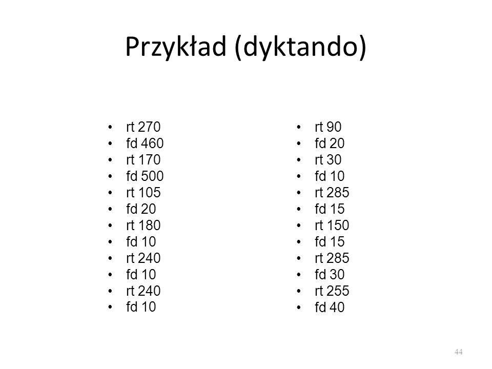 Przykład (dyktando) rt 270 fd 460 rt 170 fd 500 rt 105 fd 20 rt 180 fd 10 rt 240 fd 10 rt 240 fd 10 rt 90 fd 20 rt 30 fd 10 rt 285 fd 15 rt 150 fd 15