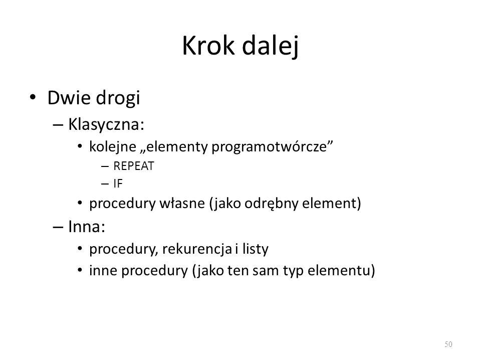 Krok dalej Dwie drogi – Klasyczna: kolejne elementy programotwórcze – REPEAT – IF procedury własne (jako odrębny element) – Inna: procedury, rekurencj