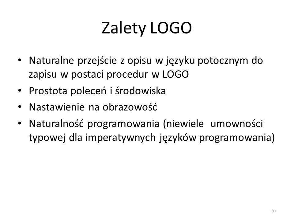 Zalety LOGO Naturalne przejście z opisu w języku potocznym do zapisu w postaci procedur w LOGO Prostota poleceń i środowiska Nastawienie na obrazowość