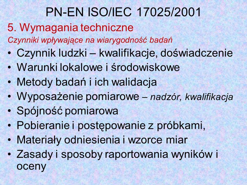 PN-EN ISO/IEC 17025/2001 5. Wymagania techniczne Czynniki wpływające na wiarygodność badań Czynnik ludzki – kwalifikacje, doświadczenie Warunki lokalo
