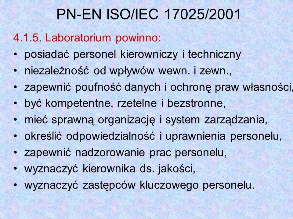 PN-EN ISO/IEC 17025/2001 4.1.5. Laboratorium powinno: posiadać personel kierowniczy i techniczny niezależność od wpływów wewn. i zewn., zapewnić poufn