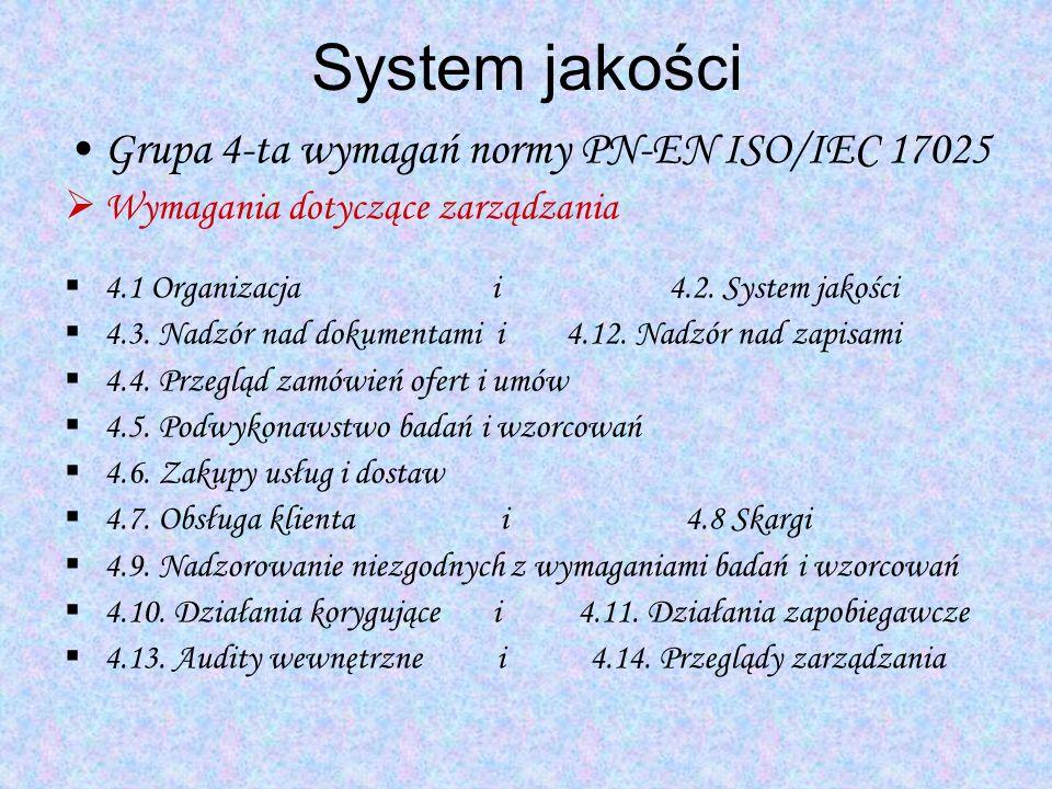 System jakości Grupa 4-ta wymagań normy PN-EN ISO/IEC 17025 Wymagania dotyczące zarządzania 4.1 Organizacja i 4.2. System jakości 4.3. Nadzór nad doku