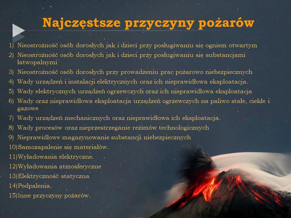 Najczęstsze przyczyny pożarów 1)Nieostrożność osób dorosłych jak i dzieci przy posługiwaniu się ogniem otwartym 2)Nieostrożność osób dorosłych jak i d