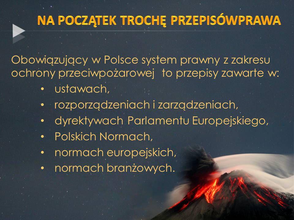 Obowiązujący w Polsce system prawny z zakresu ochrony przeciwpożarowej to przepisy zawarte w: ustawach, rozporządzeniach i zarządzeniach, dyrektywach