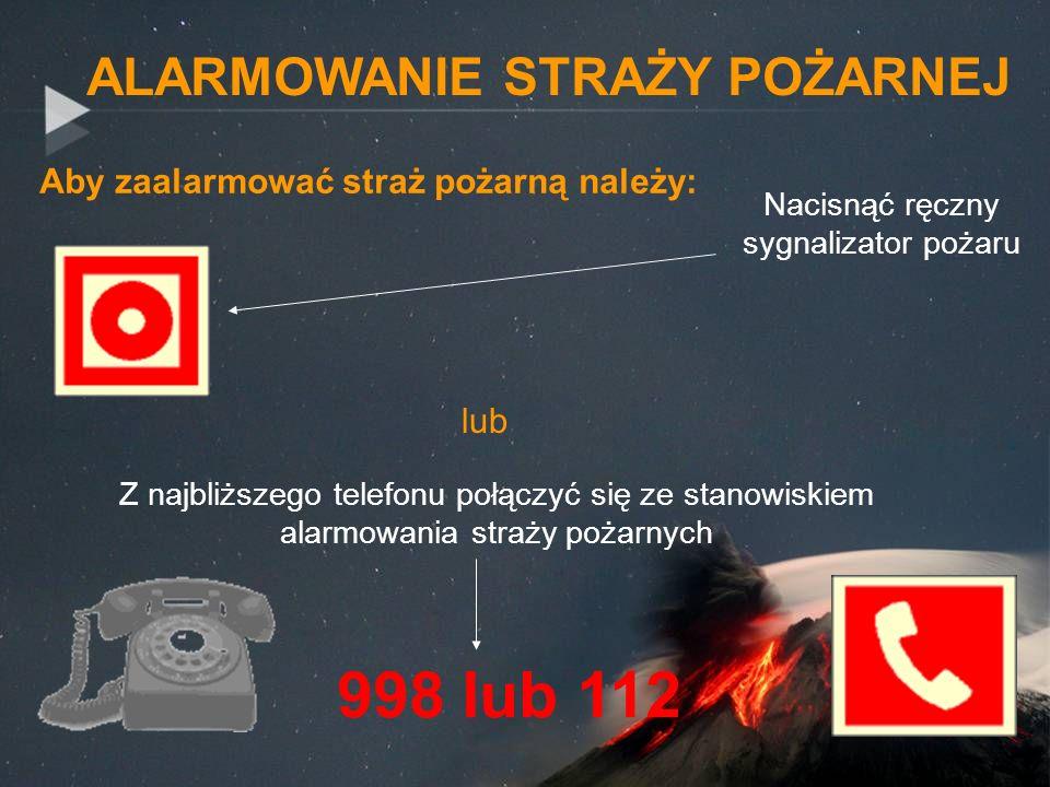 Aby zaalarmować straż pożarną należy: Z najbliższego telefonu połączyć się ze stanowiskiem alarmowania straży pożarnych ALARMOWANIE STRAŻY POŻARNEJ 99