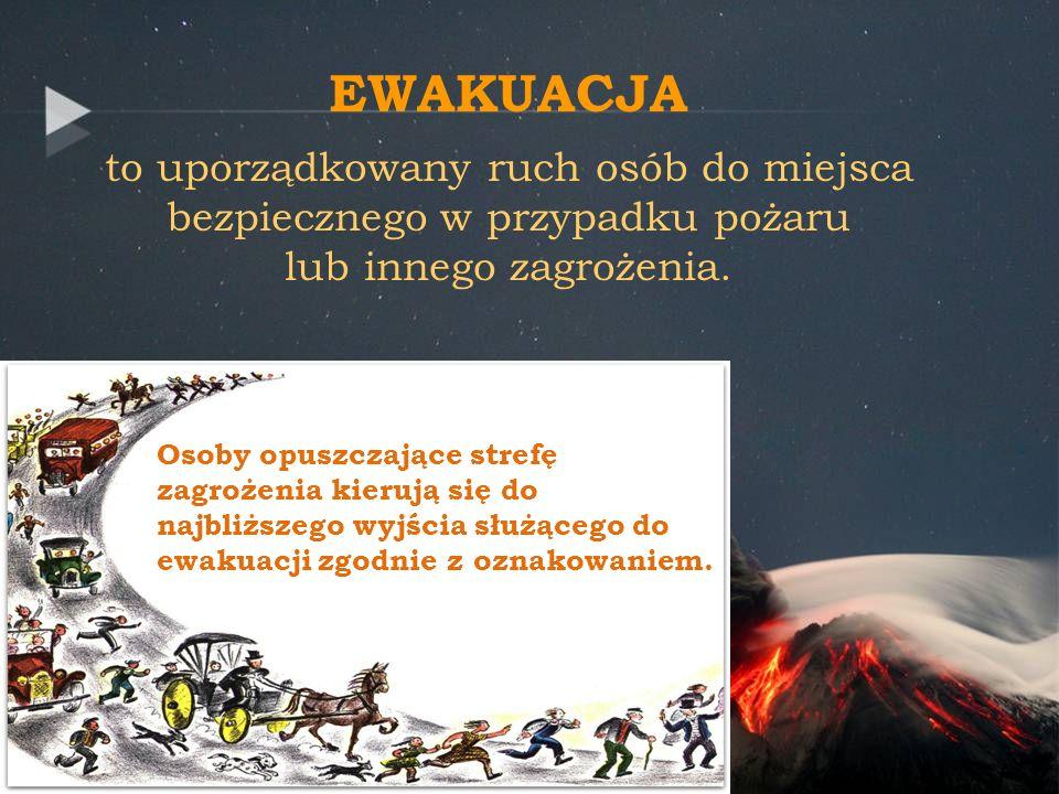 EWAKUACJA to uporządkowany ruch osób do miejsca bezpiecznego w przypadku pożaru lub innego zagrożenia. Osoby opuszczające strefę zagrożenia kierują si
