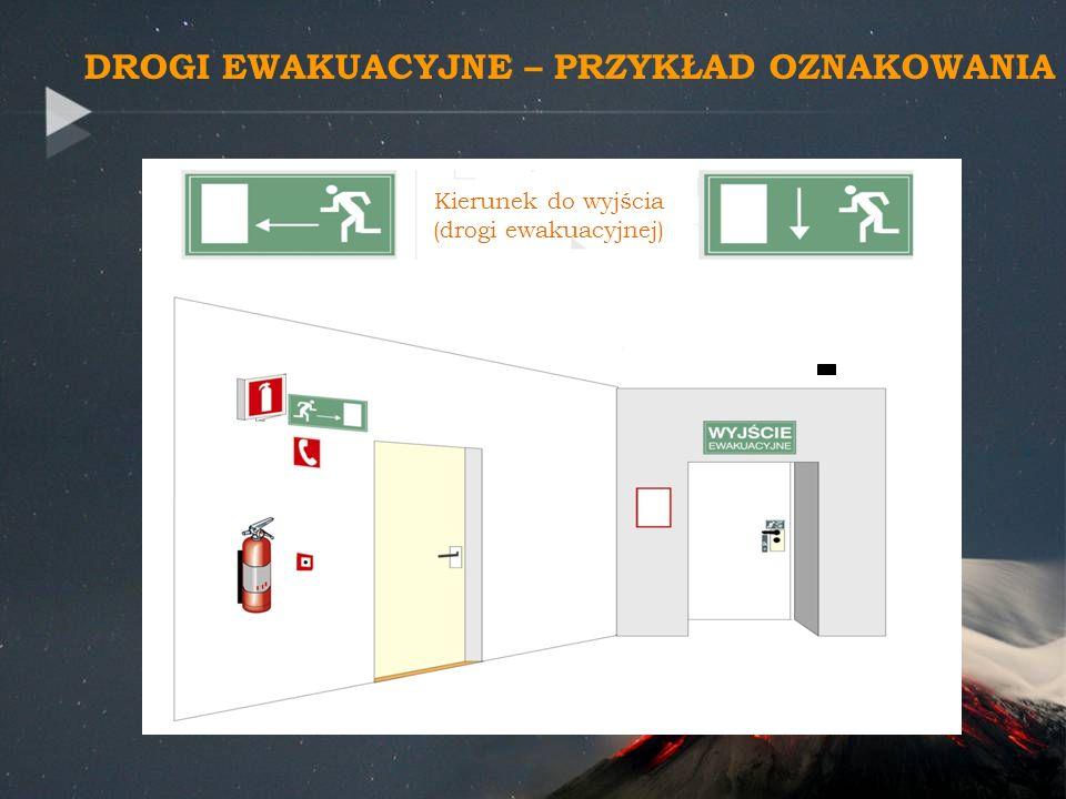 Kierunek do wyjścia (drogi ewakuacyjnej) DROGI EWAKUACYJNE – PRZYKŁAD OZNAKOWANIA