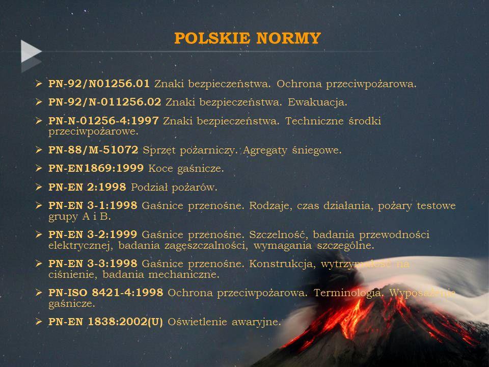 POLSKIE NORMY PN-92/N01256.01 Znaki bezpieczeństwa. Ochrona przeciwpożarowa. PN-92/N-011256.02 Znaki bezpieczeństwa. Ewakuacja. PN-N-01256-4:1997 Znak