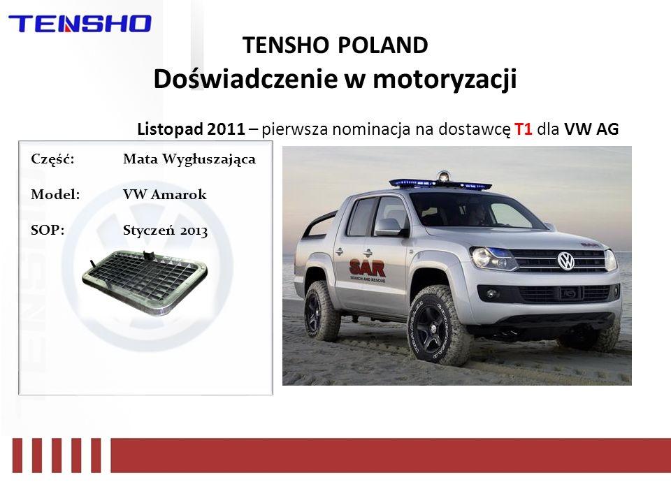 TENSHO POLAND Doświadczenie w motoryzacji Listopad 2011 – pierwsza nominacja na dostawcę T1 dla VW AG Część: Mata Wygłuszająca Model:VW Amarok SOP:Sty