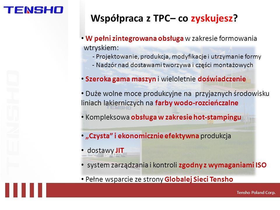 Tensho Poland Corp. Współpraca z TPC– co zyskujesz? W pełni zintegrowana obsługa w zakresie formowania wtryskiem: - Projektowanie, produkcja, modyfika