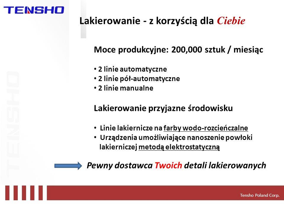 Tensho Poland Corp. Lakierowanie - z korzyścią dla Ciebie Moce produkcyjne: 200,000 sztuk / miesiąc 2 linie automatyczne 2 linie pół-automatyczne 2 li