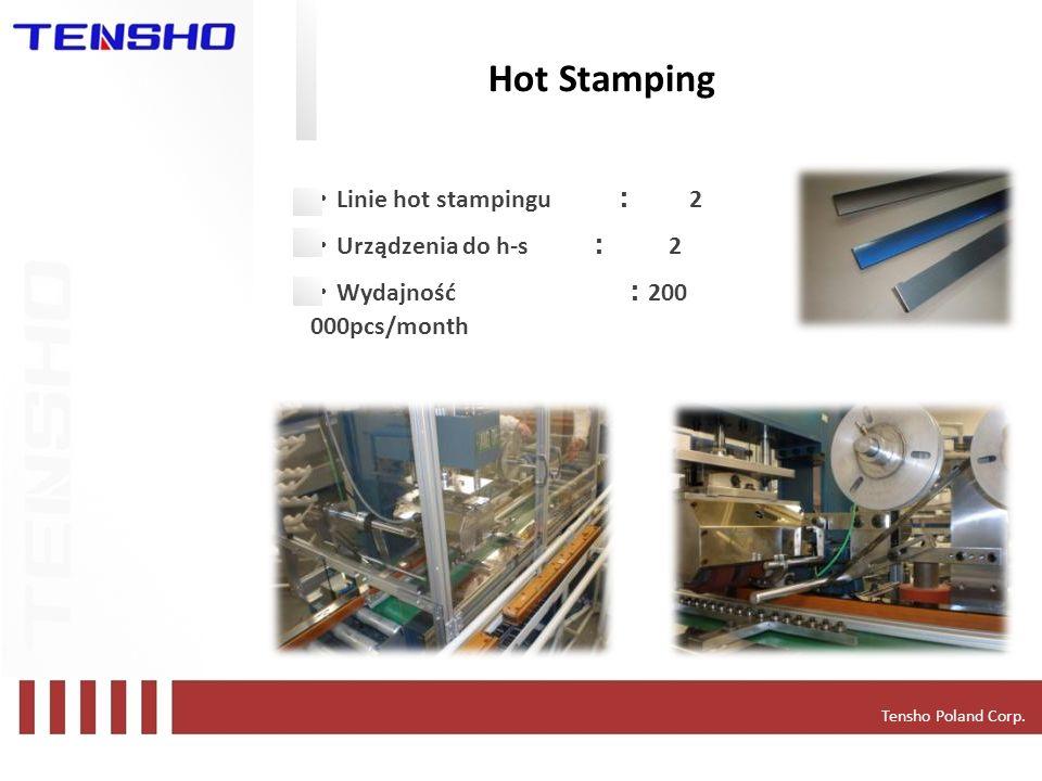 Tensho Poland Corp. Hot Stamping Linie hot stampingu 2 Urządzenia do h-s 2 Wydajność 200 000pcs/month