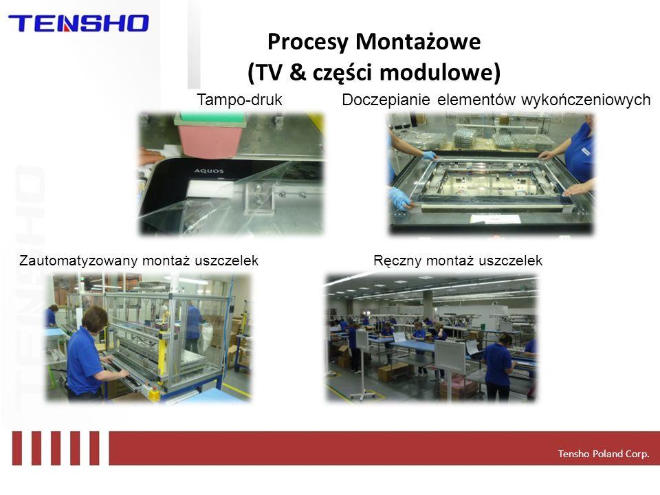 Tensho Poland Corp. Procesy Montażowe (TV & części modulowe) Tampo-drukDoczepianie elementów wykończeniowych Zautomatyzowany montaż uszczelekRęczny mo