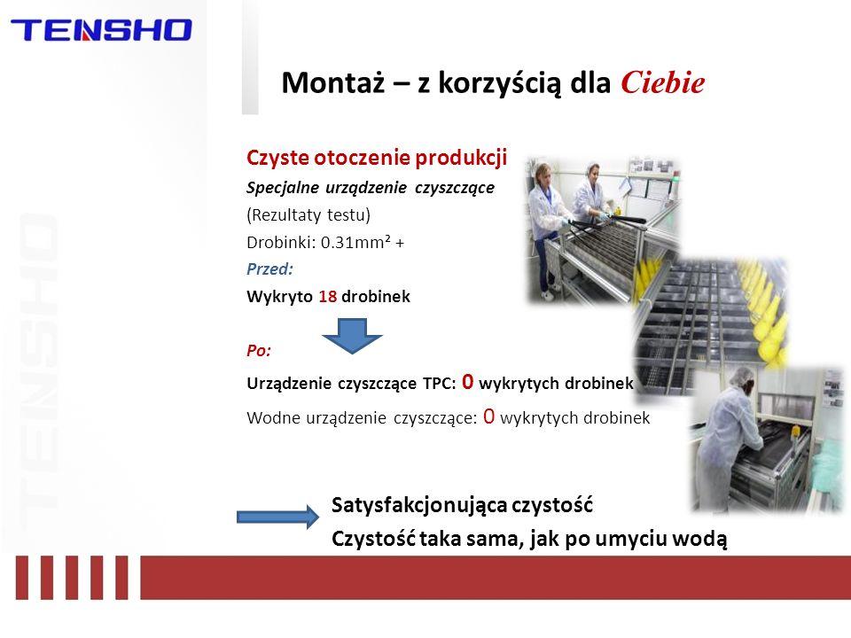 Montaż – z korzyścią dla Ciebie Czyste otoczenie produkcji Specjalne urządzenie czyszczące (Rezultaty testu) Drobinki: 0.31mm² + Przed: Wykryto 18 dro