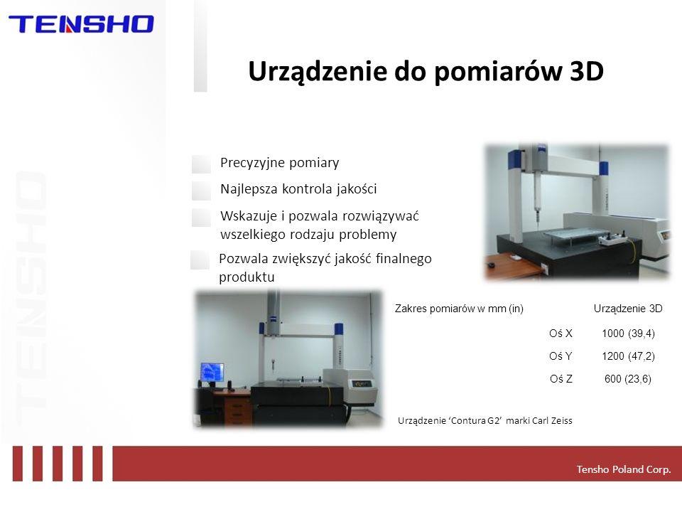 Tensho Poland Corp. Urządzenie do pomiarów 3D Zakres pomiarów w mm (in)Urządzenie 3D Oś X1000 (39,4) Oś Y1200 (47,2) Oś Z600 (23,6) Precyzyjne pomiary