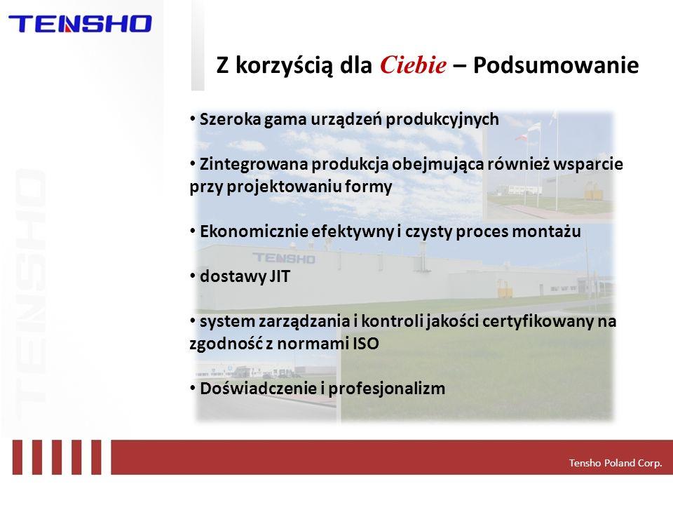 Tensho Poland Corp. Z korzyścią dla Ciebie – Podsumowanie Szeroka gama urządzeń produkcyjnych Zintegrowana produkcja obejmująca również wsparcie przy
