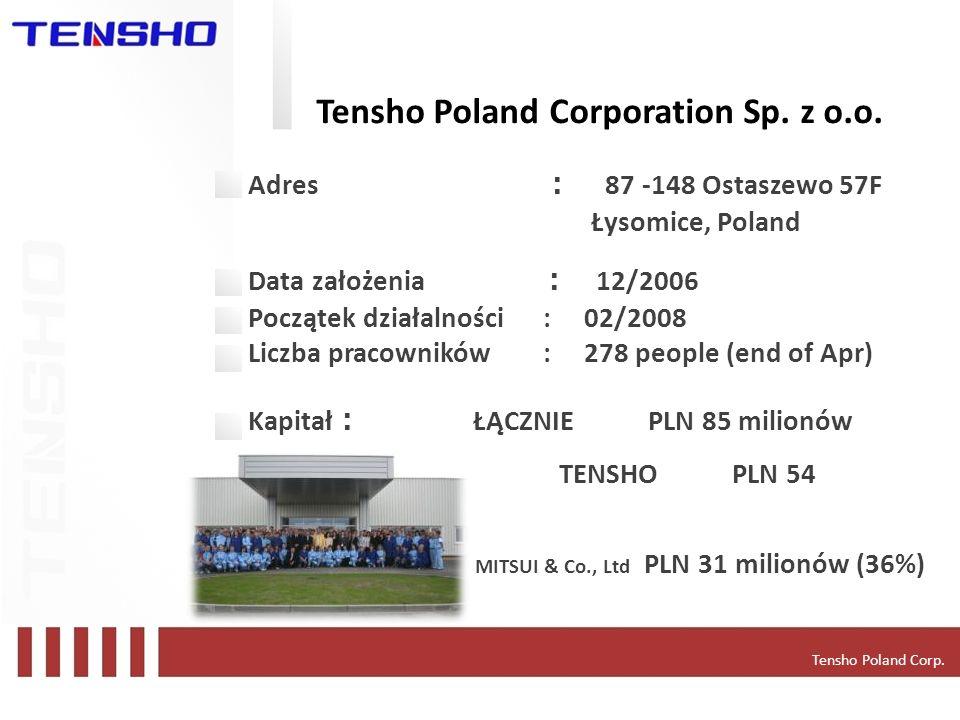 Tensho Poland Corporation Sp. z o.o. Adres 87 -148 Ostaszewo 57F Łysomice, Poland Data założenia 12/2006 Początek działalności : 02/2008 Liczba pracow