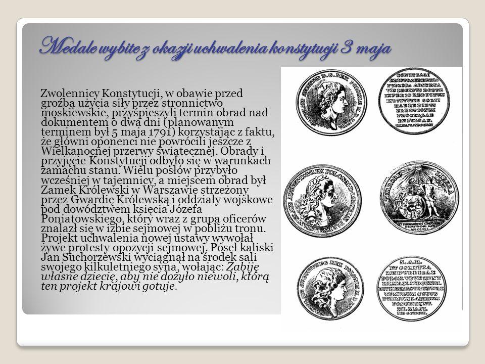 Postanowienia Konstytucji 3 maja Król Stanisław August opisał Konstytucję 3 Maja, według współczesnego mu zapisu, jako opartą w głównej mierze na konstytucji Stanów Zjednoczonych, lecz bez błędów w niej zawartych, zaadaptowaną do warunków panujących w Polsce .