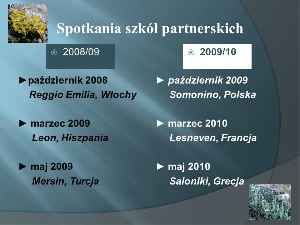 Spotkania szkół partnerskich październik 2008 Reggio Emilia, Włochy marzec 2009 Leon, Hiszpania maj 2009 Mersin, Turcja 2008/09 październik 2009 Somon