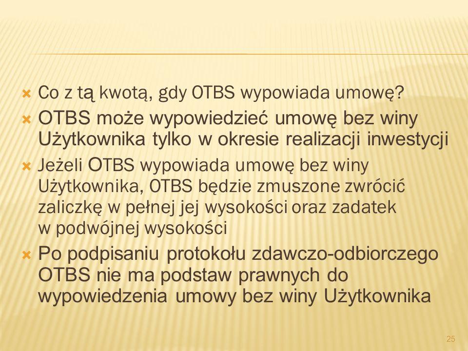 Co z t ą kwotą, gdy OTBS wypowiada umowę? OTBS może wypowiedzieć umowę bez winy Użytkownika tylko w okresie realizacji inwestycji Jeżeli O TBS wypowia