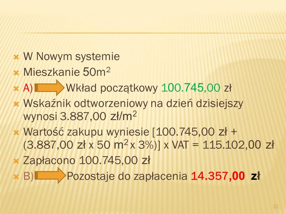 W Nowym systemie Mieszkanie 5 0m 2 A) Wkład początkowy 1 0 0. 745,00 zł Wskaźnik odtworzeniowy na dzień dzisiejszy wynosi 3.887,00 zł/m 2 Wartość zaku