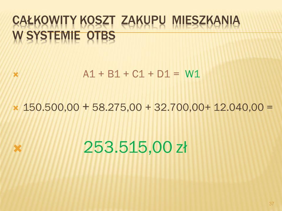A1 + B1 + C1 + D1 = W1 150.500,00 + 58.275,00 + 32.700,00+ 12.040,00 = 253.515,00 zł 37