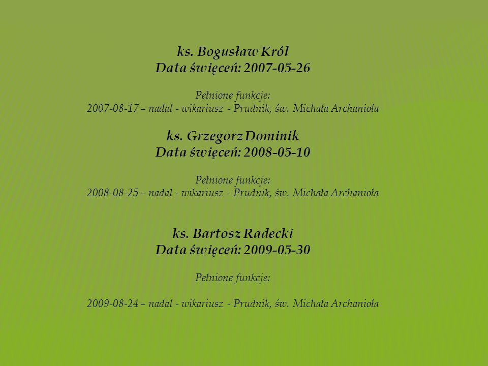 ks. Bogusław Król Data święceń: 2007-05-26 Pełnione funkcje: 2007-08-17 – nadal - wikariusz - Prudnik, św. Michała Archanioła ks. Grzegorz Dominik Dat