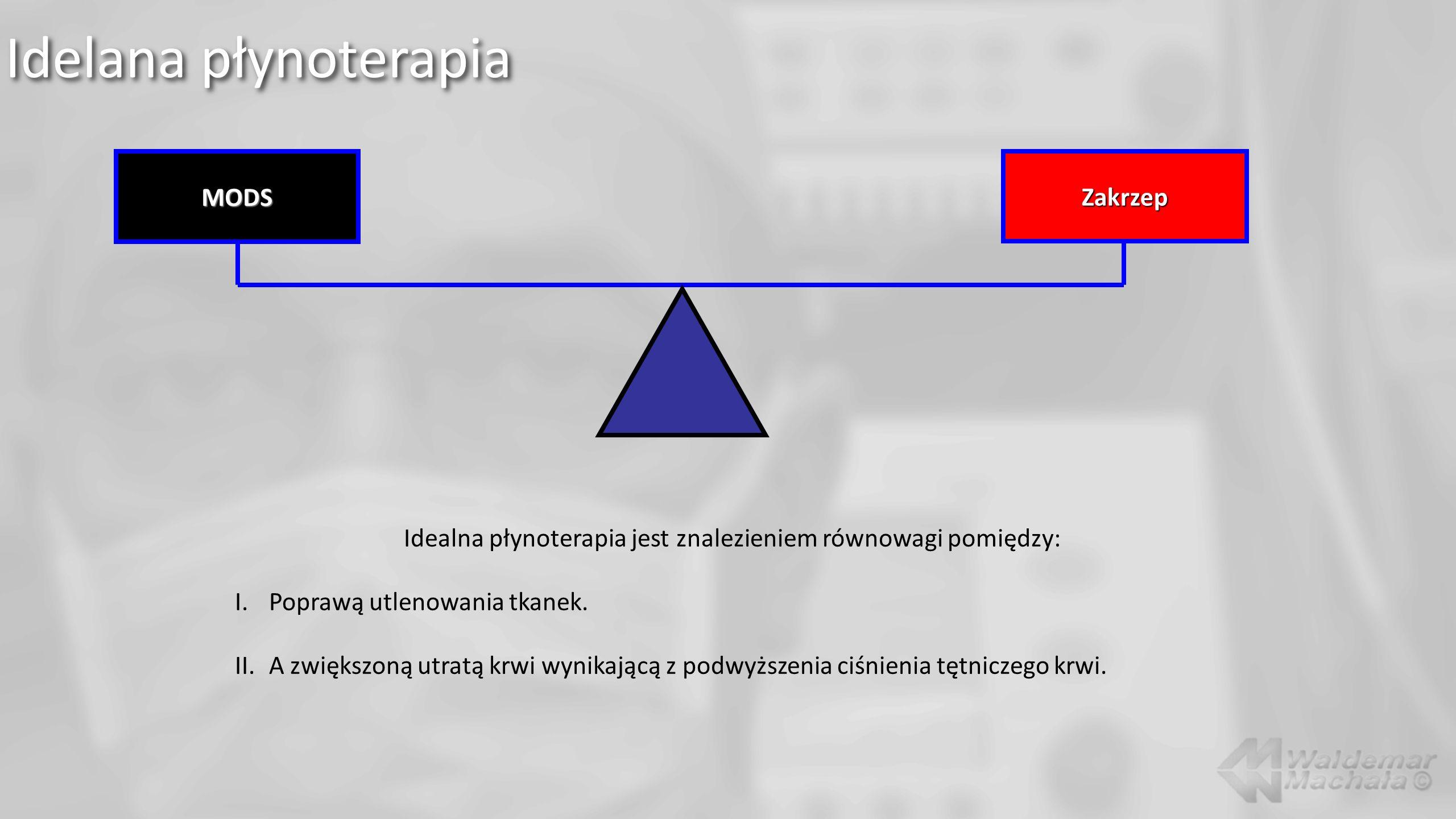 Idelana płynoterapia MODSZakrzep Idealna płynoterapia jest znalezieniem równowagi pomiędzy: I.Poprawą utlenowania tkanek. II.A zwiększoną utratą krwi