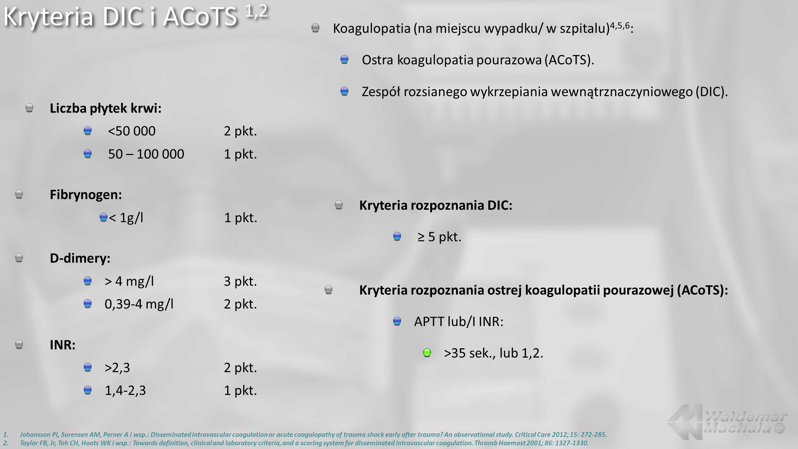 Liczba płytek krwi: <50 0002 pkt. 50 – 100 0001 pkt. Fibrynogen: < 1g/l1 pkt. D-dimery: > 4 mg/l3 pkt. 0,39-4 mg/l2 pkt. INR: >2,32 pkt. 1,4-2,31 pkt.