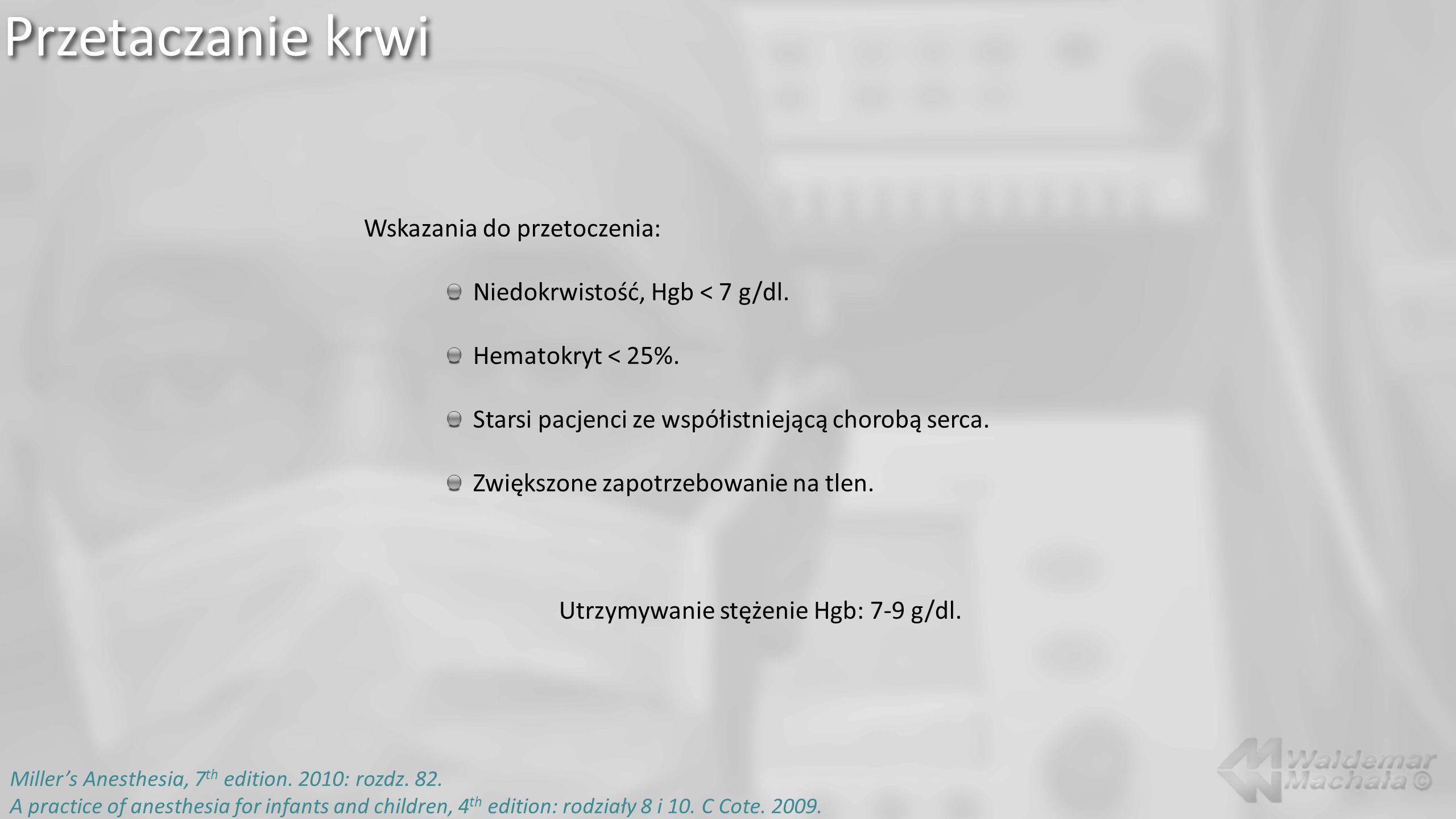 Przetaczanie krwi Millers Anesthesia, 7 th edition. 2010: rozdz. 82. A practice of anesthesia for infants and children, 4 th edition: rodziały 8 i 10.