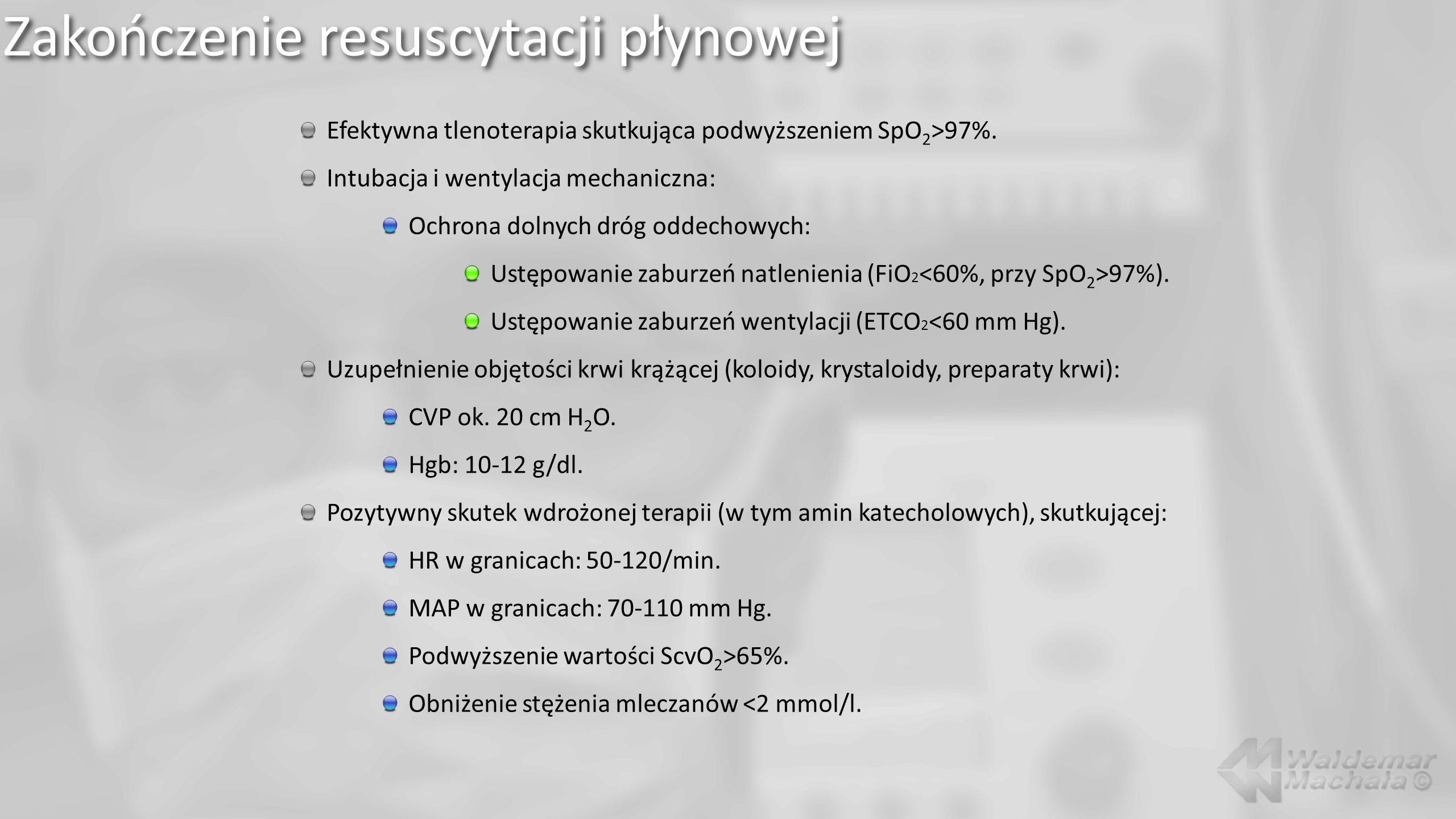 Zakończenie resuscytacji płynowej Efektywna tlenoterapia skutkująca podwyższeniem SpO 2 >97%. Intubacja i wentylacja mechaniczna: Ochrona dolnych dróg