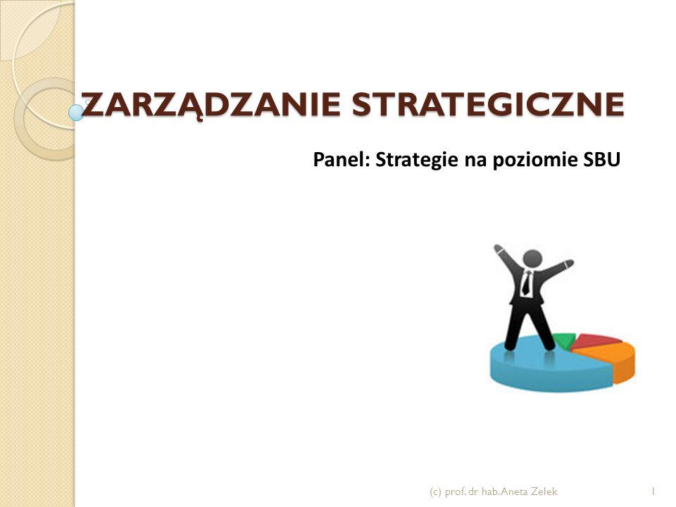 ZARZĄDZANIE STRATEGICZNE (c) prof. dr hab. Aneta Zelek1 Panel: Strategie na poziomie SBU