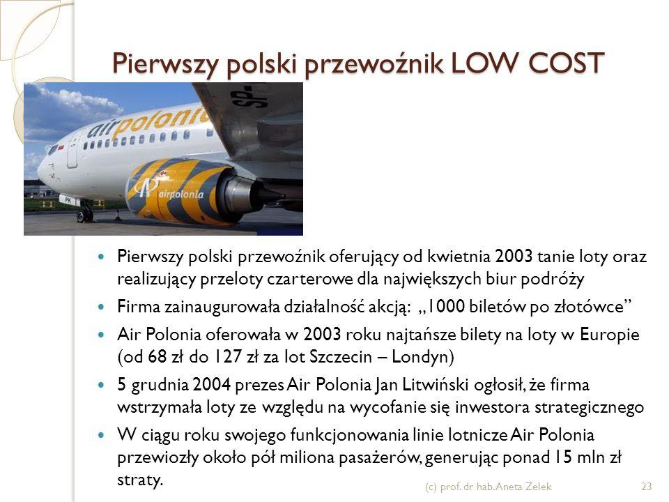 Na świecie Low Cost Airlines to już trend (c) prof. dr hab. Aneta Zelek22 2004 - PLL LOT powstałe w 2004 zakładają spółkę filialną mającą wykonywać lo