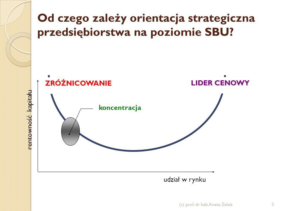 Strategia lidera cenowego - cechy duży udział w rynku duże potrzeby inwestycyjne dostęp do kapitału rozwinięte i utrwalone kanały dystrybucji umiejętności poszerzania udziału w rynku restrykcyjna kontrola kosztów struktura organizacyjna właściwa dla dużych organizacji (c) prof.