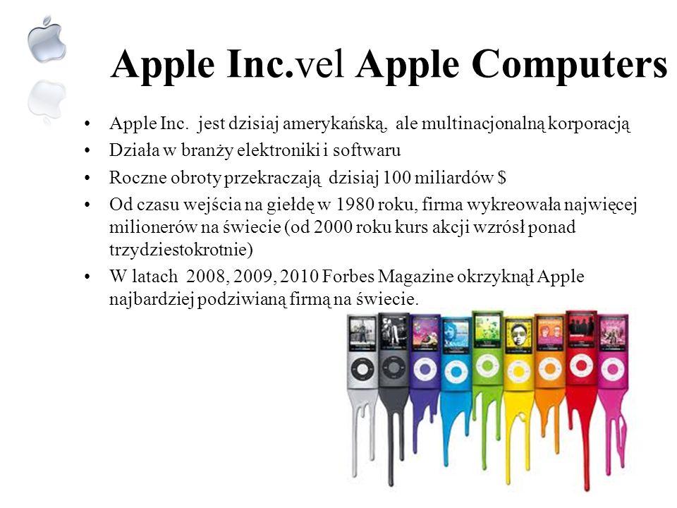 Apple Logo Pierwsze logo APPLE przedstawiało Issaca Newtona pod jabłonią Pod koniec lat 70. logo zostało przekształcone na tęczowe nadgryzione jabłko