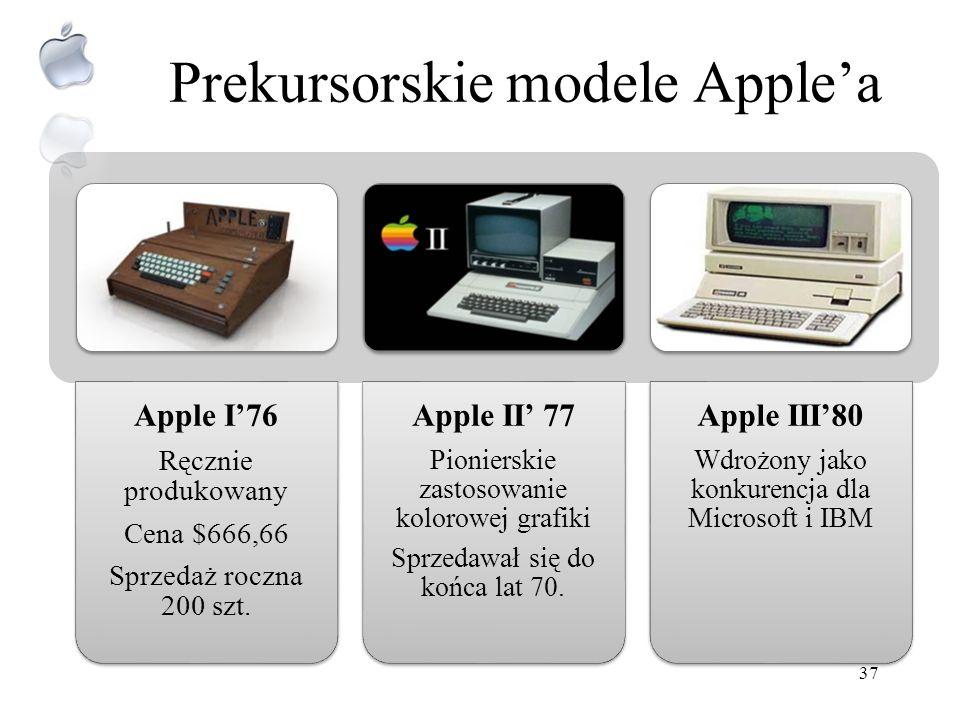 Historia Apple Inc. Firma została utworzona 1 kwietnia 1976r. w Cupertino (California) przez: –Steve Wozniak, –Steve Jobs –and Ronald Wayne (pod konie