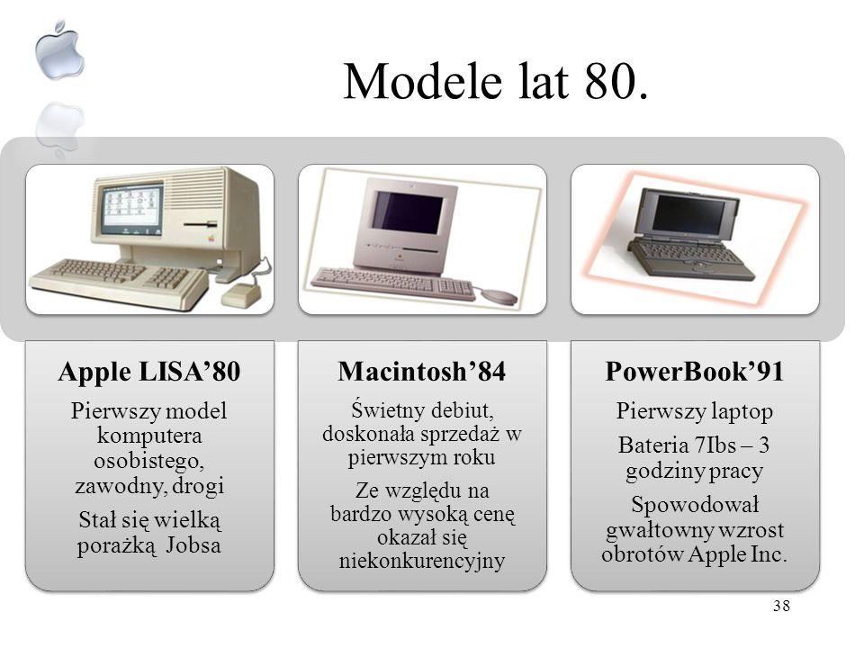 Prekursorskie modele Applea Apple I76 Ręcznie produkowany Cena $666,66 Sprzedaż roczna 200 szt. Apple II 77 Pionierskie zastosowanie kolorowej grafiki