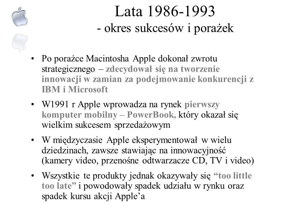 Modele lat 80. Apple LISA80 Pierwszy model komputera osobistego, zawodny, drogi Stał się wielką porażką Jobsa Macintosh84 Świetny debiut, doskonała sp