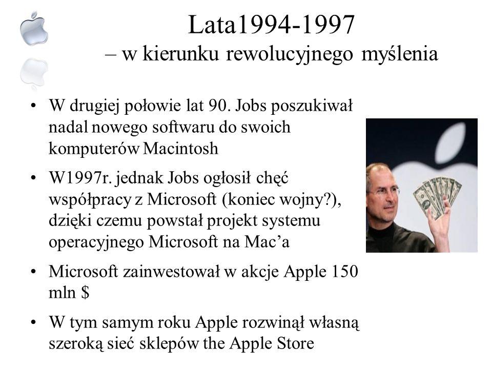 Lata 1986-1993 - okres sukcesów i porażek Po porażce Macintosha Apple dokonał zwrotu strategicznego – zdecydował się na tworzenie innowacji w zamian z